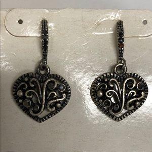 Silver delicate heart dangle earrings